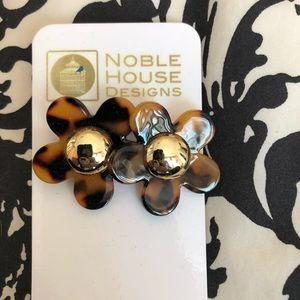 tortoise and gold flower earrings